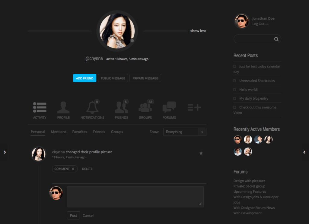 ejemplo de red social